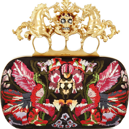 ALEXANDER MCQUEEN Unicorn Skull embroidered satin box clutch £1,435