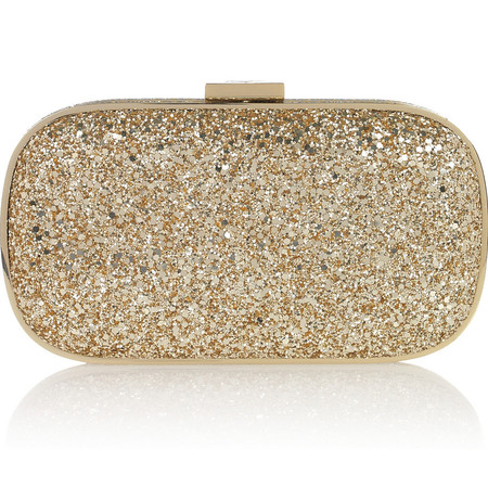 ANYA HINDMARCH Marano glitter-finished box clutch £450