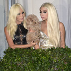 Lady Gaga does blonde and brunette for Versace party