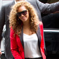 Beyonce steps out for a romantic dinner in J Brand and McQueen