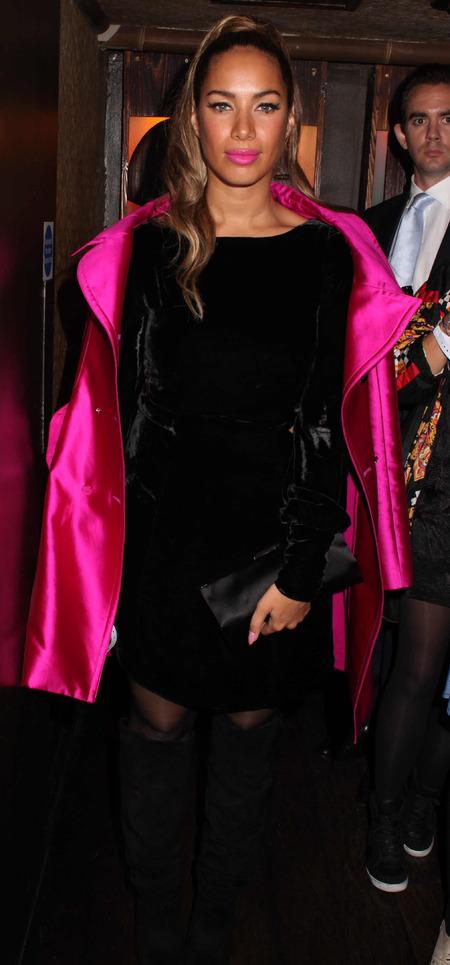 Leona Lewis pink lips and coat Mahiki Oct 2012