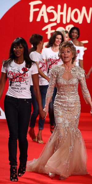Jane Fonda and Naomi Campbell at Fashion For Relief, Cannes