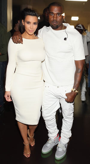 Kim and Kanye wear all white