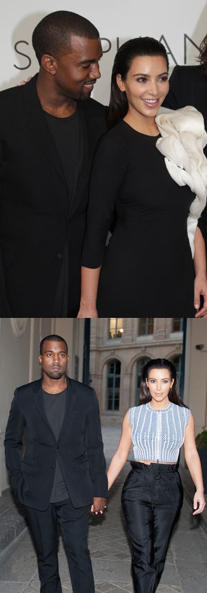 Kim Kardashian Kanye West Paris fashion week