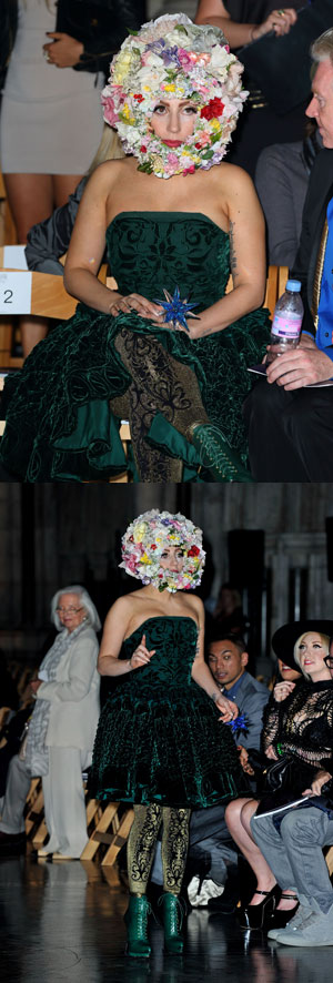 Lady Gaga is appropriately dressed in a giant floral headpiece on the FROW at Philip Treacy SS13