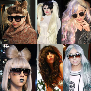 HAIR HISTORY: Lady Gaga from blonde to brunette via green, pink, grey, black...