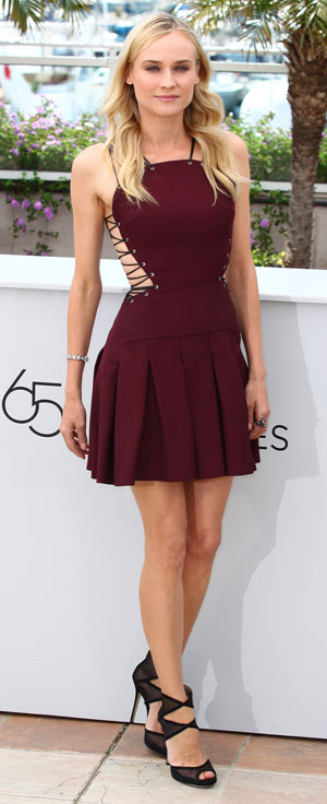 Diane Kruger in a lace up mini dress