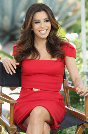 Eva Longoria in a cap sleeved dress