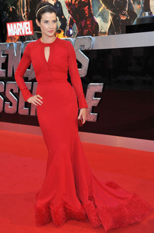 Cobie Smulders in a red carpet gown