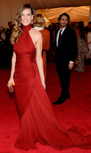 Hilary Swank in a red carpet gown