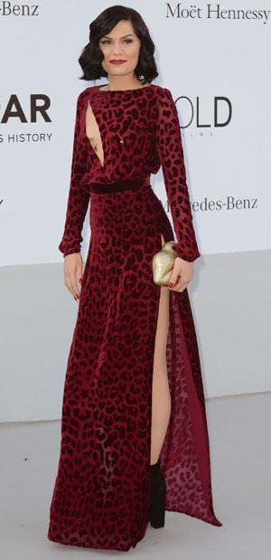 Jessie J in a high slit dress