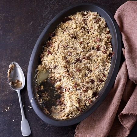 Pear, pecan and chocolate crumble recipe by Paul Hollywood