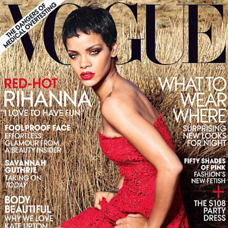 Rihanna US Vogue cover November 2012, red Valentino dress