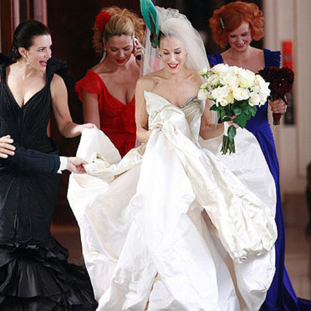 Carrie Bradshaw's Vivienne Westwood wedding dress in <em>Sex and the City</em>