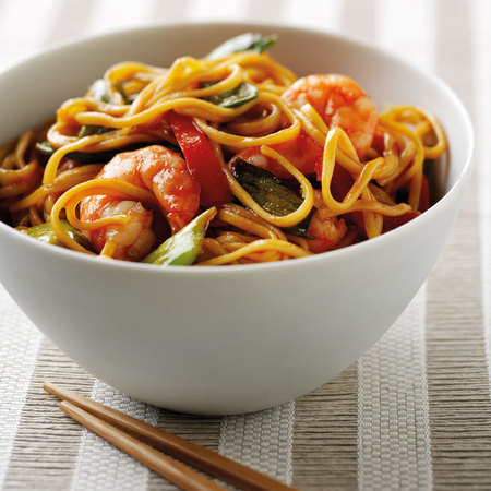 Prawn stir fry using rapeseed oil