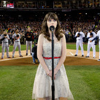 Zooey Deschanel sings US national anthem