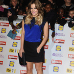 Caroline Flack does black and blue