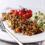 Oat topped mackerel with roast tomatoes recipe