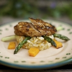 Balsamic chicken, asparagus and squash risotto
