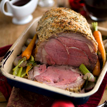 Roast sirloin beef with boursin