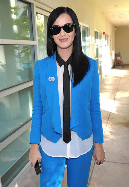 Katy Perry votes in electric blue suit