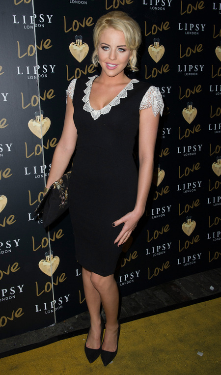 Lydia Bright wears her own limited collection dress at Lipsy party