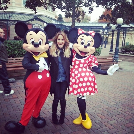 Caroline Flack with Mickey and Minnnie Mouse
