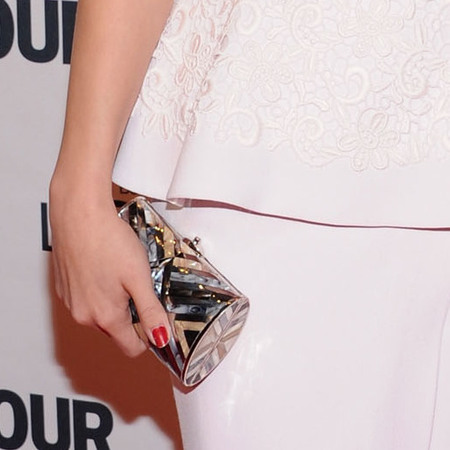Selena Gomez at US Glamour Women Of  The Year Awards in Giambattista Valli silk dress from the Spring/Summer 2013 collection, Rupert Sanderson heels, Judith Leiber clutch and Graziela cocktail ring.