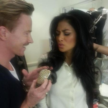 Nicole Scherzinger at X Factor with hairdresser Ben Cooke