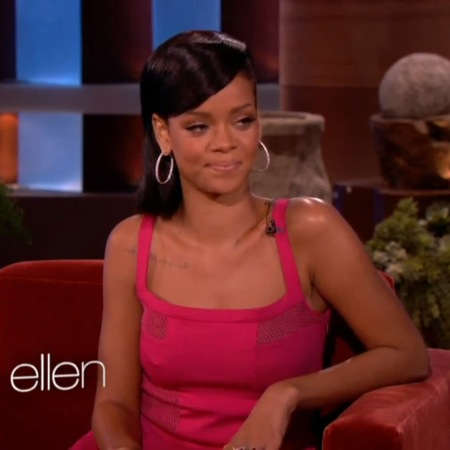 Rihanna dons pretty pink Versus dress for Ellen DeGeneres Show
