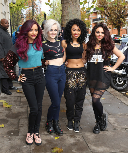 Little Mix brave barely-there crop tops in London