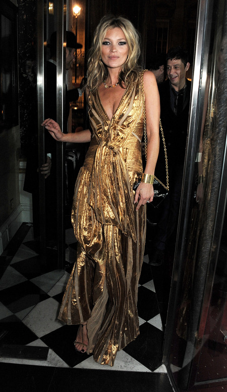 Kate Moss parties in gold Marc Jacobs gown at Book Launch