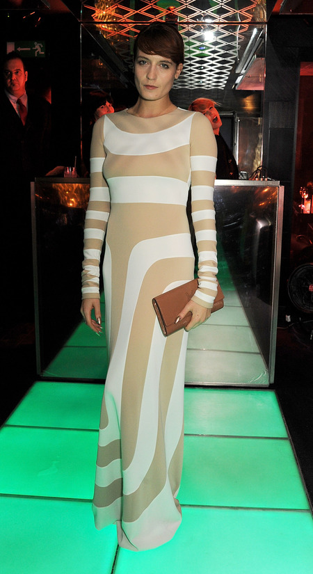 Florence Welch works white and nude Marc Jacobs dress at Kate Moss book launch