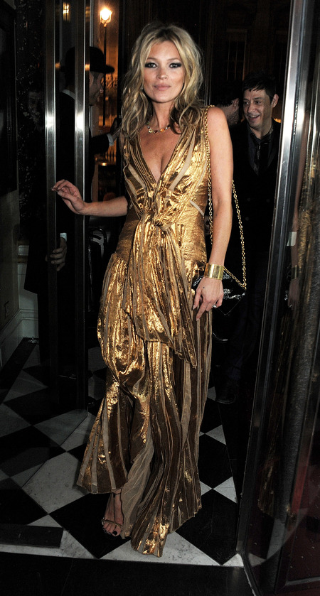 BEST KATE MOSS MOMENTS: Book launch gold dress