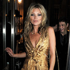 Kate Moss parties in gold Marc Jacobs gown