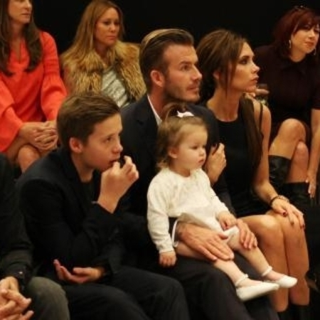 David and Victoria Beckham with Brooklyn and Harper