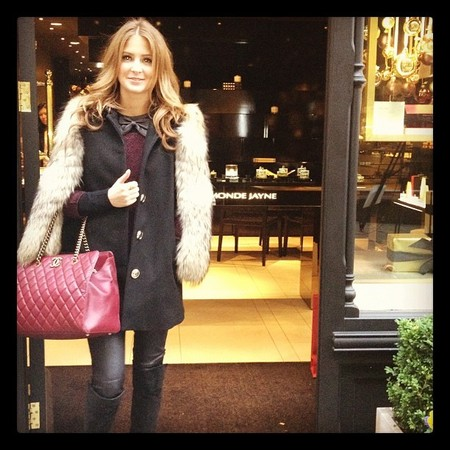 Millie Mackintosh pairs her Chanel with chic winter layers