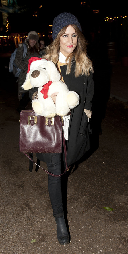 Caroline Flack layers up for Winter Wonderland