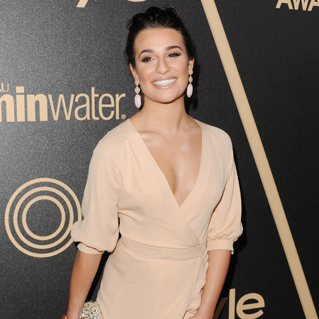 Lea Michelle does sultry side-split in nude Valentino