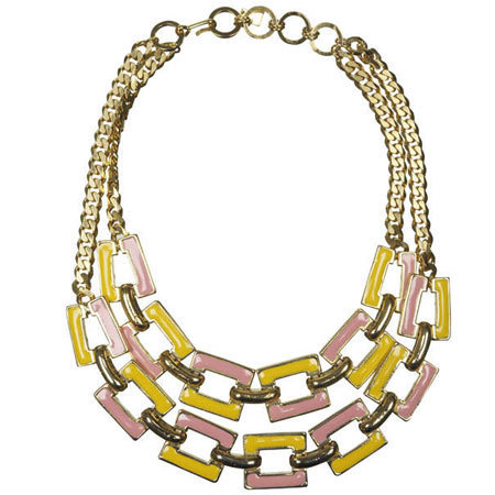 Lancetti Vintage Gold Plated Enamel Chunky Link Necklace