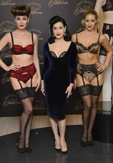 Dita Von Teese does vampy velvet to launch new lingerie line for Debenhams