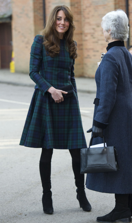 Kate Middleton in tartan Alexander McQueen at St Andrews school