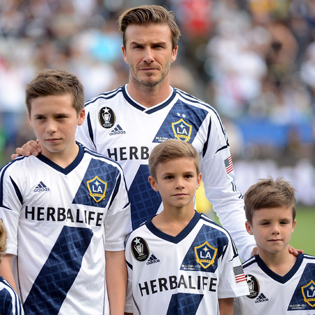 David Beckham with his boys in LA