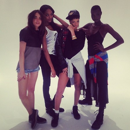 Rihanna snapped on set of River Island SS13 campaign