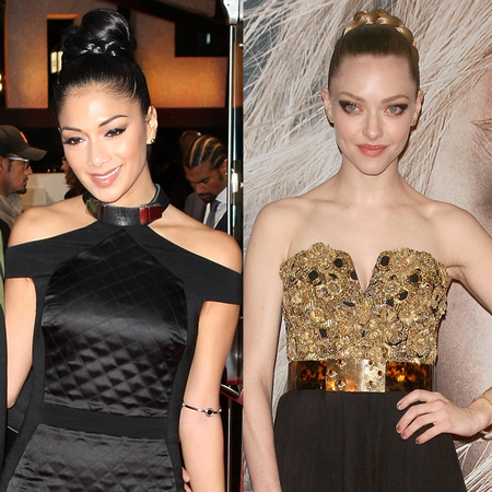 Nicole Scherzinger and Amanda Seyfried work braided buns on the red carpet