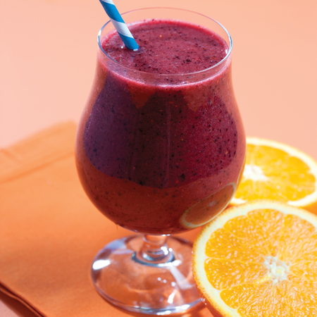 Orange Double Berry mint smoothie