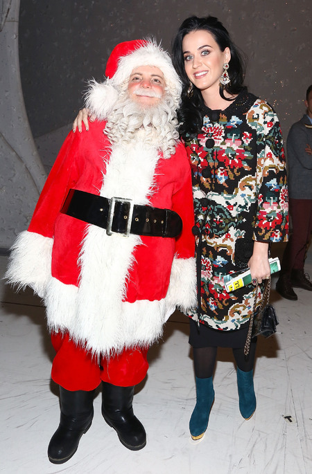 Katy Perry wraps up in Dolce & Gabbana florals for festive fun