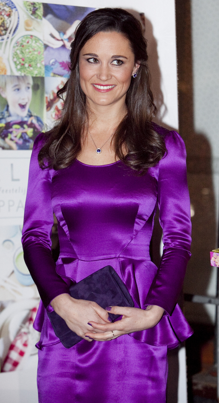 Pippa Middleton looks festive in shiny purple peplum at book launch