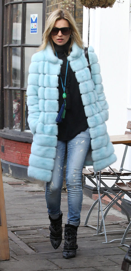 COAT CRUSH: Kate Moss' winter blues