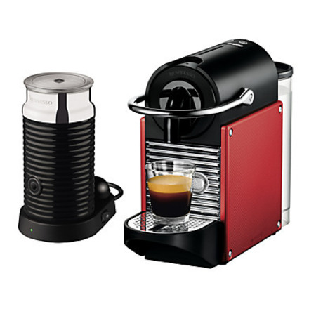 Nespresso Pixie Carmin Coffee Maker and Aeroccino by Magimix